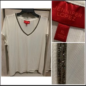 JLO Top Bling Accent V-neck XL